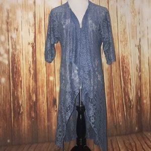 LuLaRoe Blue Lace Shirley Small